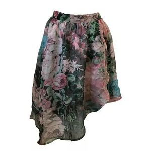 MOON COLLECTION Asymmetrical Floral Skirt Size M